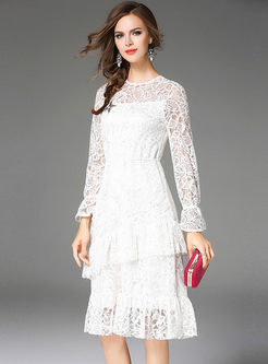 White Lace Flare Sleeve Falbala Skater Dress