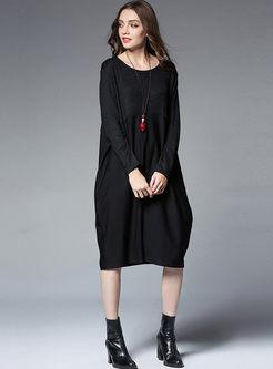 7fa9b7ce2fac ... Causal Stitching Loose Long Sleeve Shift Dress