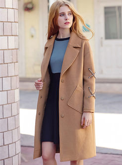 Brief Single-breasted Woolen Long Sleeve Trench Coat