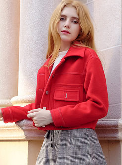 Red Turn Down Collar Woolen Short Coat