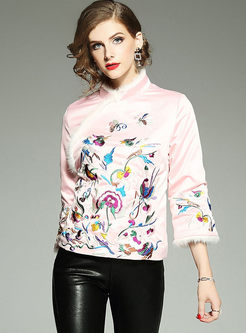 Ethnic Embroidery Fur Collar Short Thick Coat