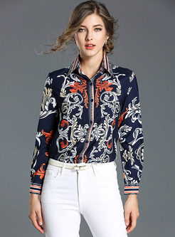 Ethnic Slim Floral Print Long Sleeve Blouse