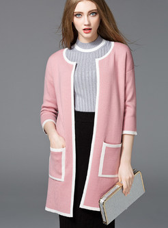 Pink Fashion Three Quarters Sleeve O-neck Coat