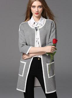Grey Fashion Three Quarters Sleeve O-neck Coat