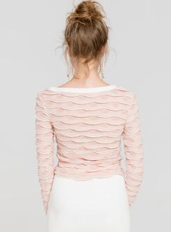 Elegant Asymmetric Collar Slim Sweater