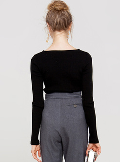Black Sexy Hollow Slim Sweater