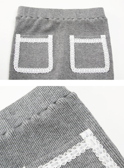 Grey Falbala Pocket Slim Knitted Skirt