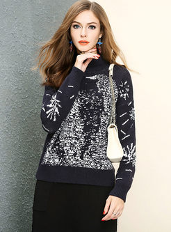 Blue Turtle Neck Long Sleeve Knitted Sweater