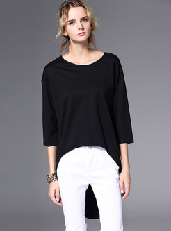 Black Stylish Asymmetric Three Quarters Sleeve T-shirt