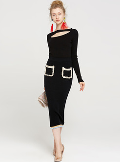 Chic Falbala Color-blocked Knitted Skirt