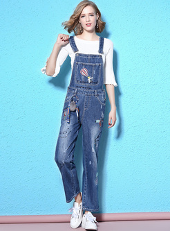 Chic Embroidery High Waist Overalls