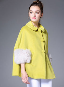 Yellow Cute Turn Down Collar Loose Coat