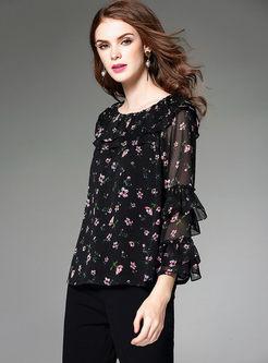 Black Floral Print Falbala Loose Chiffon Blouse