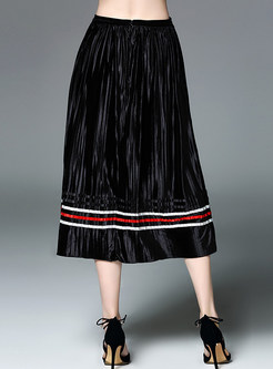Vintage Elastic Waist Ruffled Skirt