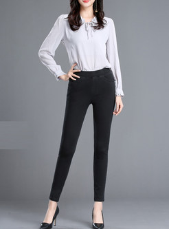 Black Slim Denim Elastic Waist Pencil Pants