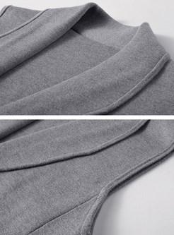 Brief Knitted Turn Down Collar Vest