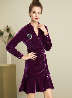 Stylish Single-breasted V-neck Ruffled-hem Bodycon Dress