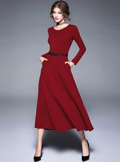 Brief Long Sleeve O-neck Maxi Dress