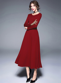 Brief Long Sleeve O-neck Maxi Dress