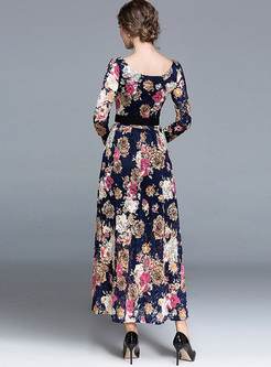 Party Floral Print O-neck Maxi Dress
