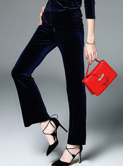 Fashionable Velvet Zipper Slim Flare Pants