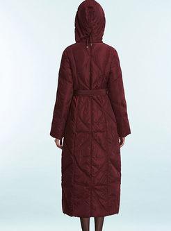 Stylish Slim Hooded Belt Down Coat