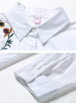 White Brief Embroidery Long Sleeve Blouse