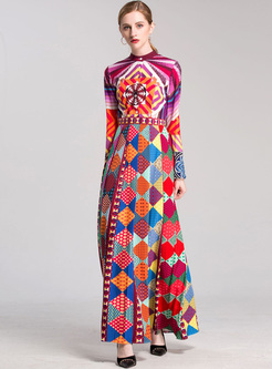 Flare Sleeve Geometric Print Maxi Dress