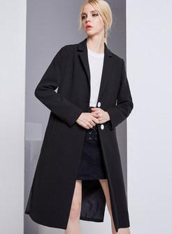Brief Split Black Turn Down Collar Coat