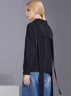 Black Back-tied Lapel Loose Blouse