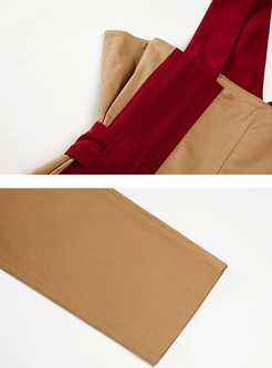 Khaki Chic Color-blocked Cargo Overalls