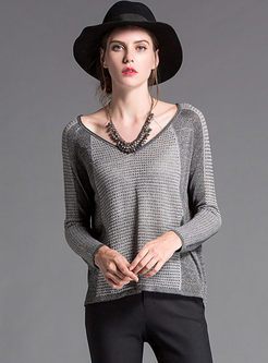 Loose V-neck Color-blocked Long Sleeve Sweater