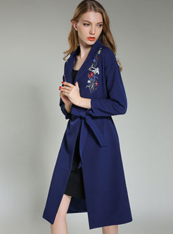 Embroidered A Line Trench Coat With Belt