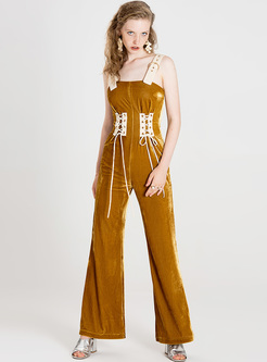 Ginger Tied-waist Slim Jumpsuits