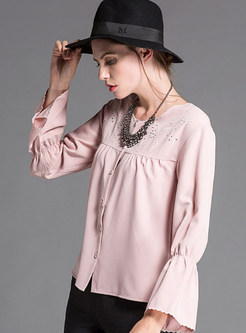 Pink Brief Bell Sleeve Single-breasted O-neck Blouse