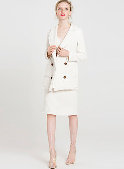 Brief White Slim Split Skirt