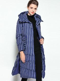 Blue Brief Vertical Striped Hooded Down Coat | Ezpopsy.com