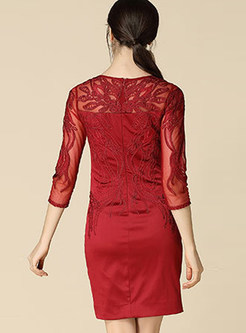 Wine Red Sexy Embroidery Three Quarters Sleeve Bodycon Dress