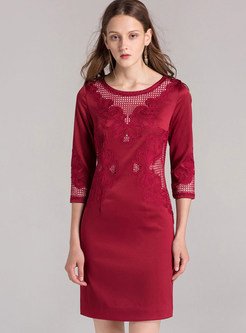 200e51df4ef4 Wine Red Slim Patchwork Embroidery Bodycon Dress ...