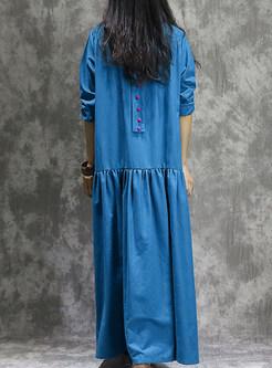 Ethnic Gathered Waist Embellished Maxi Dress