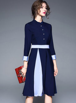 Blue Work Gathered Waist Stand Collar Skater Dress