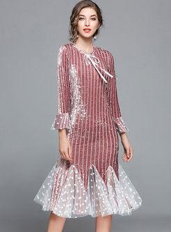Sexy Stringy Mesh Splicing Dot Print Bodycon Mermaid Dress