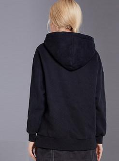 Casual Black Loose Pullover Hoodie