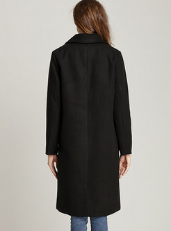 Black Straight Overcoat With Pockets