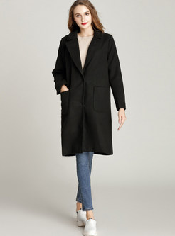 Black Brief Straight With Pockets Coat