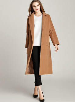 Chic Belted Turn Down Collar Coat