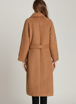 Camel Turn Down Collar Belted Long Overcoat