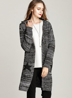 Fashion Hooded Knitted Star Pattern Coat