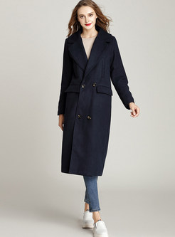 Chic Navy Blue Double-breasted Coat