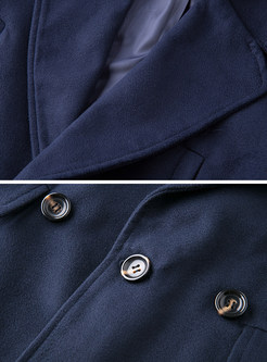 Navy Blue Double-breasted Overcoat